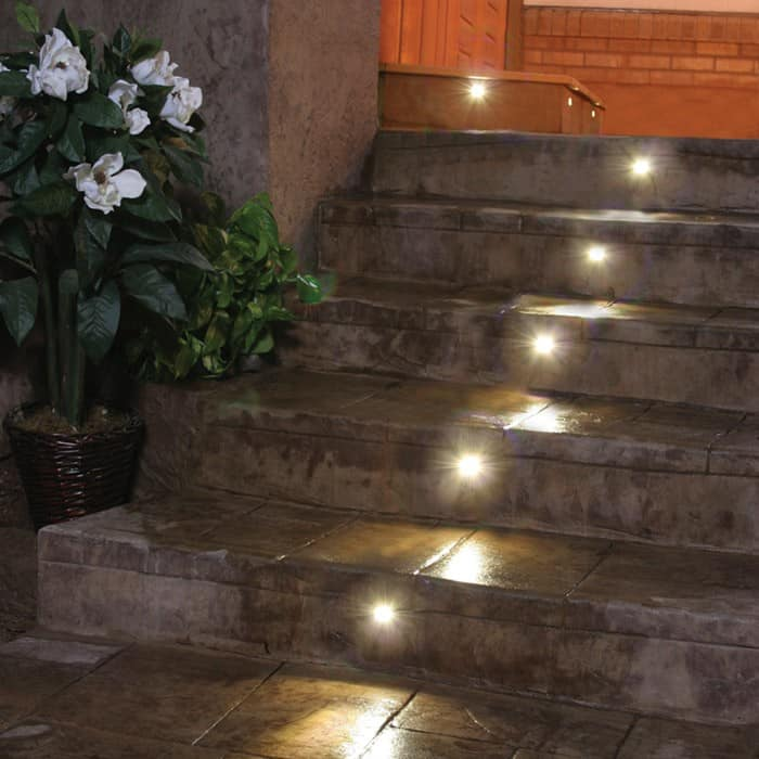 outdoor led recessed stair light kit 8 pack dekor lighting. Black Bedroom Furniture Sets. Home Design Ideas