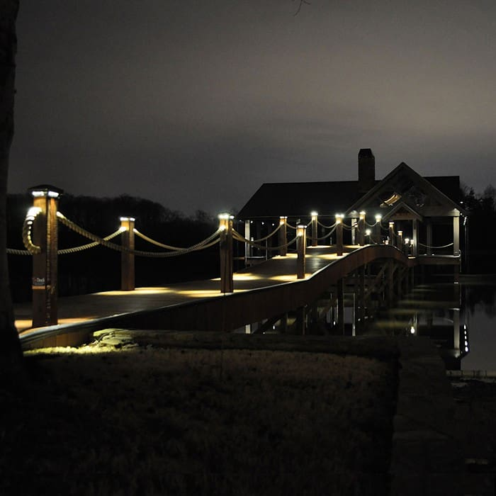 boat dock lights and post cap lights turned on at night