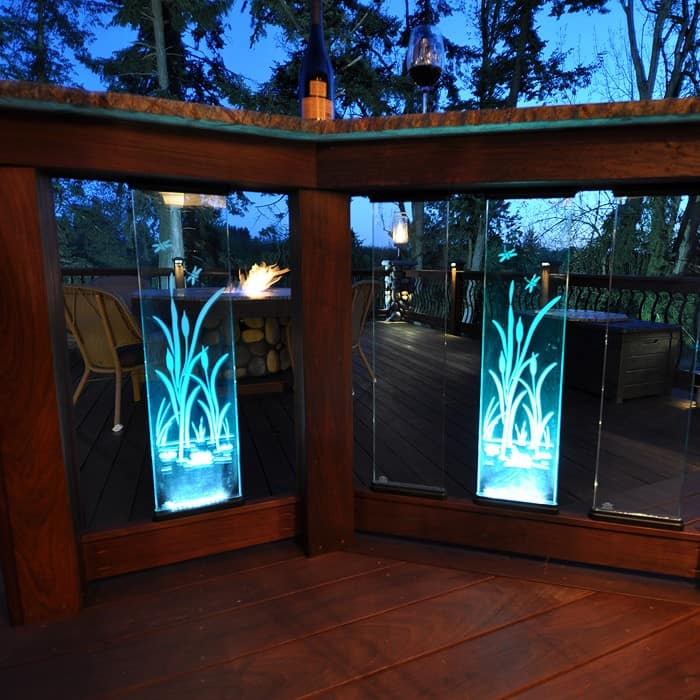 Glass perfect panel 26 with etching and lights dekor for Garden decking glass panels