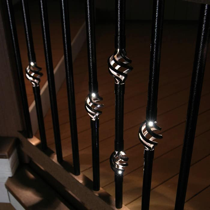 "Stair Railing Light: Round Aluminum Baluster 32"" Single Basket With Light"
