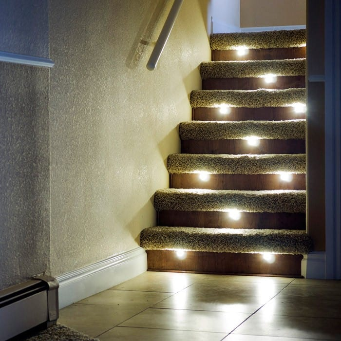 Lighting Basement Washroom Stairs: Indoor LED Recessed Stair Light Kit