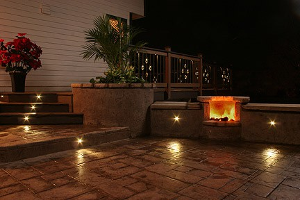 Outdoor led recessed lights dekor lighting add a luxurious feel to your concrete deck or patio led lighting shown embedded in stamped concrete workwithnaturefo