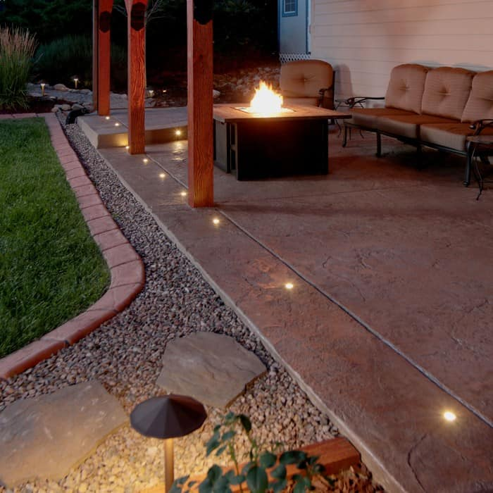 Landscape lighting in concrete : Outdoor led paverdot light kit with ft cables dekor