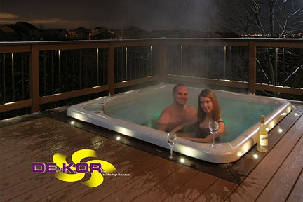 deck lighting. Set The Mood For Your Hot Tub Experience With Water Proof LED Recessed Down Lights. Deck Lighting