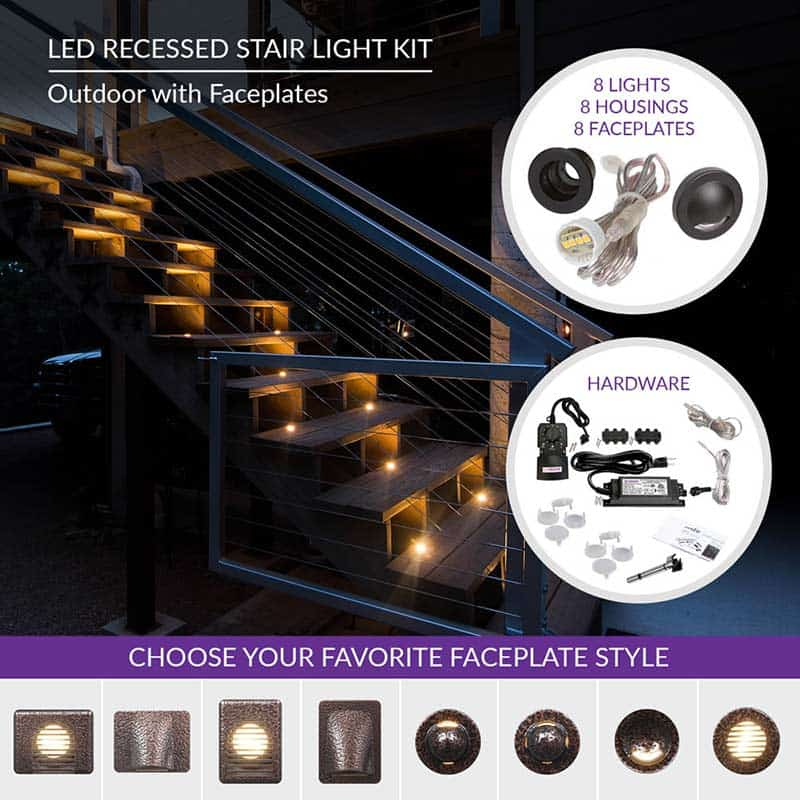 Outdoor Led Recessed Stair Light Kit 8 Pack With