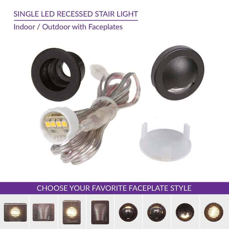 Indoor Outdoor Single Recessed Stair Light With Faceplate