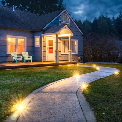 paver dot lights installed in a walkway
