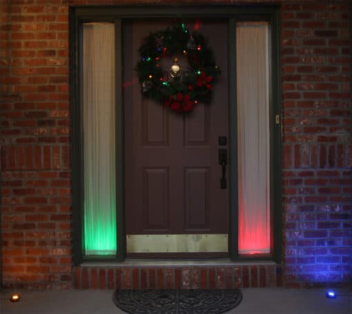 colored puck light in front door