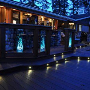Glass railing panels with LED lighting