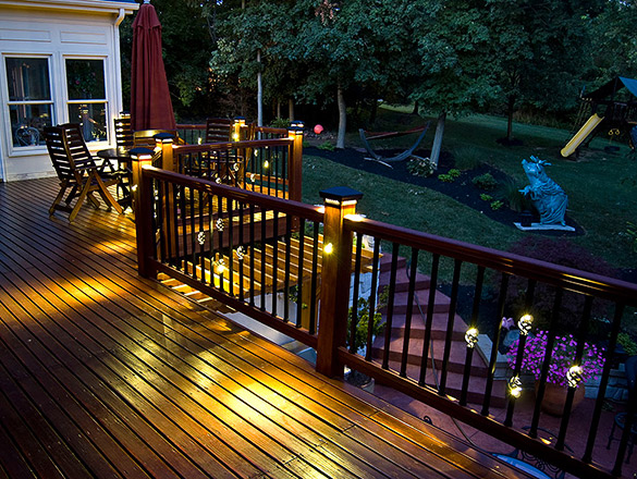 The wood craftiness of ohios custom railing inc dekor lighting cincinnati homeowners replace their old deck railing with something special aloadofball Image collections