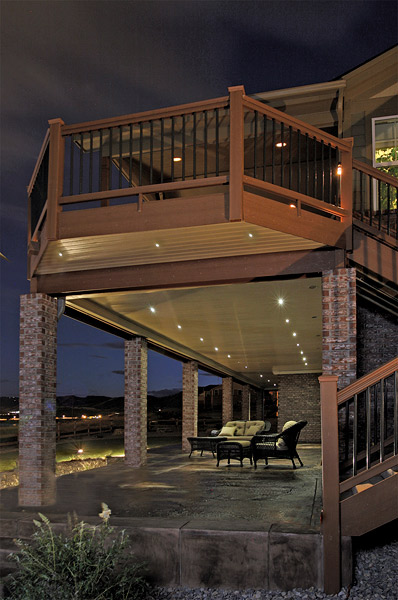 LED Recessed Down Lights Under A Deck Light The Patio Below