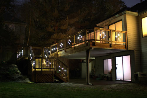 Back deck lighted by Illuminations balusters
