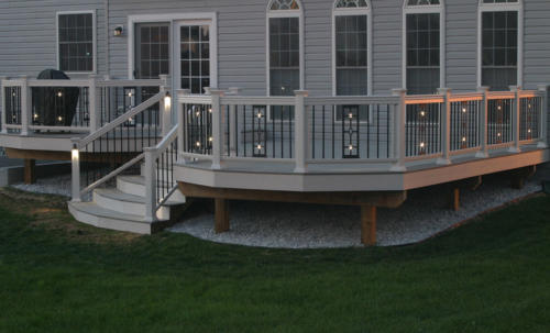 Cast aluminum deck and balcony panels with LED lights