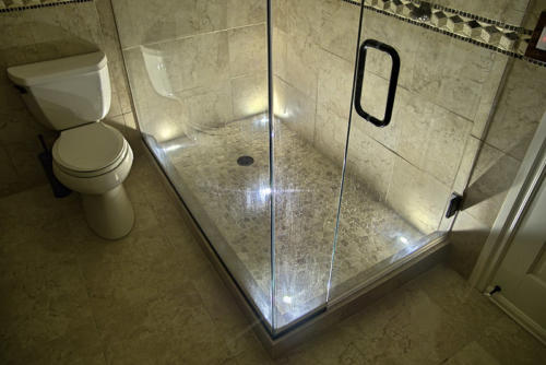 LED Shower Lighting using indoor Dek Dots LED recessed light kit