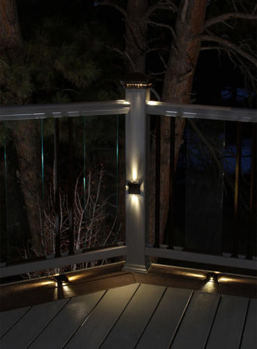 Elite Post Lamps mounted on deck, deck post