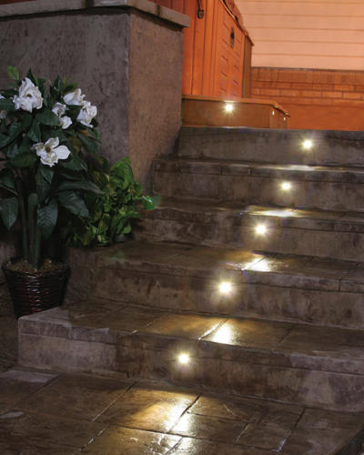Landscape Lighting: DEKOR LED stair lights light the way on stone steps