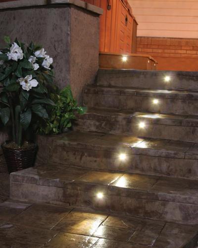 Landscape Lighting: DEKOR LED stair lights light the way on stone steps