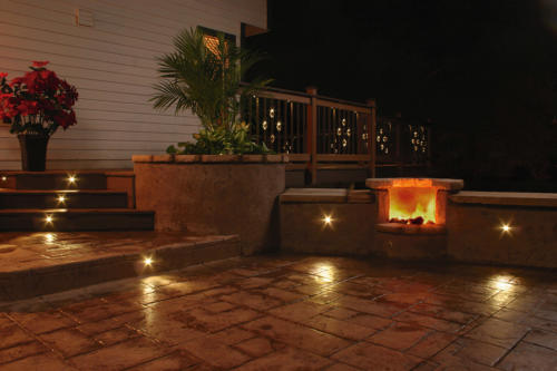 LED patio lighting: DEKOR recessed lights can be embedded in concrete, brick, pavers
