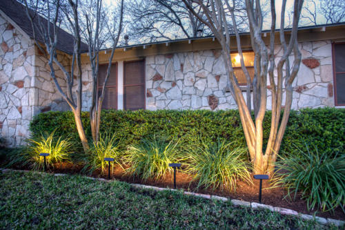 Radiance Landscape Lights from DEKOR illuminate garden beds