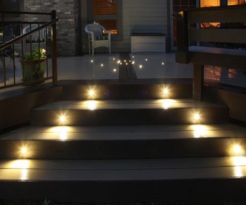 Innovative deck lighting: Dek Dots for the deck pattern used with our classic LED recessed stair lights
