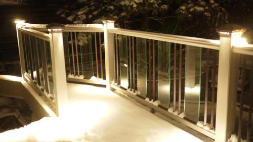 DEKOR post cap lights on winter deck